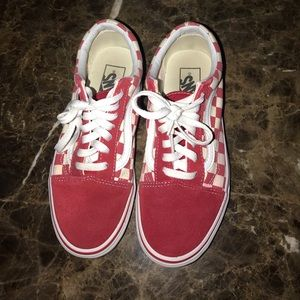 Red and white Old Skool vans sizes 5.5